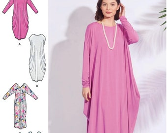 1e675e2fe1b6 Simplicity S8911 Sewing Pattern Misses Knit Caftans with Neckline and  Sleeve Variations sz XXS-XXL Uncut