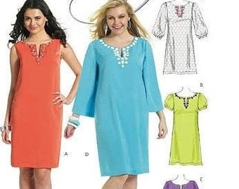 McCalls M6117 Sewing Pattern Make it Crafty A-Line Above Knee Pullover Dress Gem Stone Applique Accents Misses 8-16 or Womens 18W-24W Uncut