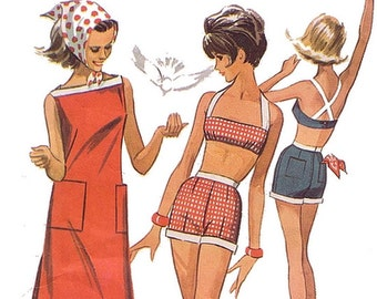 Vtg 60s McCalls 7244 Sewing Pattern Misses 32 Bust sz 12 Surfer Bra Top Shorts and Shift Dress Cross Back Pockets Fun in the Sun Beach Party