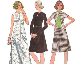 580c6609b99 McCalls 3827 Sewing Pattern Vintage 70s Half Size Dress Sleeve Variations  Peekaboo Neckline French Darts Midi Maxi Length sz 16 1 2 Uncut
