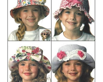 c1ed272baeb3c Butterick 6614 Sewing Pattern Children s Assortment of Hats Girls and Boys  All Sizes Uncut