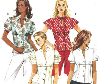 542947cdf8f Butterick B4985 Sewing Pattern Misses Gathered Upper Front Tops with Sleeve  and Collar Variations sz 6-12 Uncut