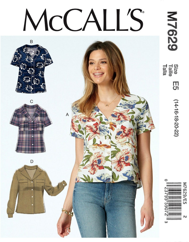 McCalls M7629 Sewing Pattern Misses Loose Fitting Tops with Pocket Sleeve and Length Variations sz 6 14 or 14 22 Uncut