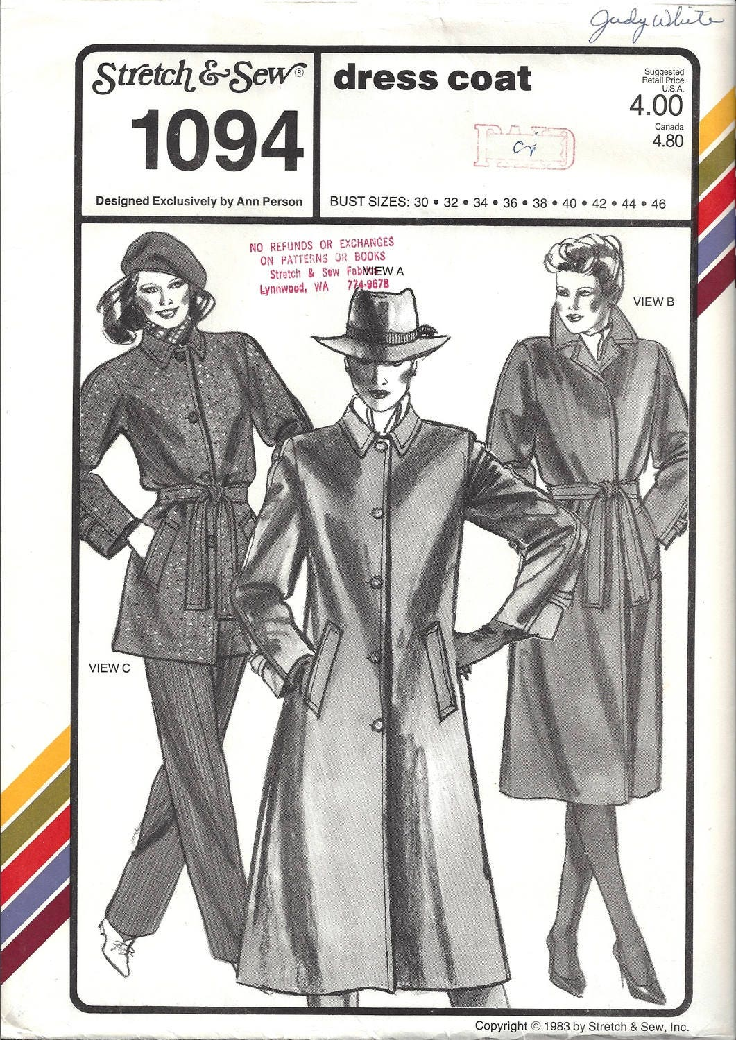 Stretch & Sew 1094 Sewing Pattern Ladies Dress Coat sz 30 - 46 Bust ...