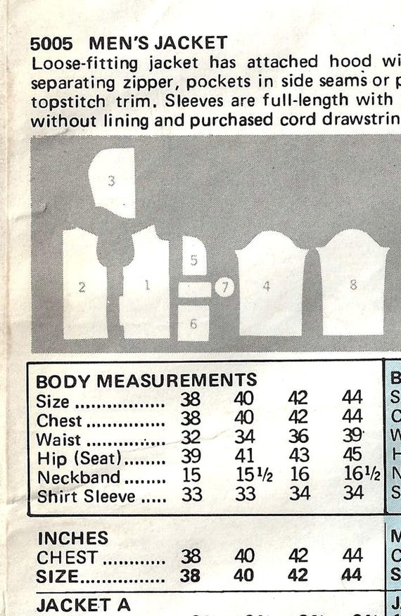 Vintage 70er Jahre Butt 5005 Nähen Muster Herren locker | Etsy