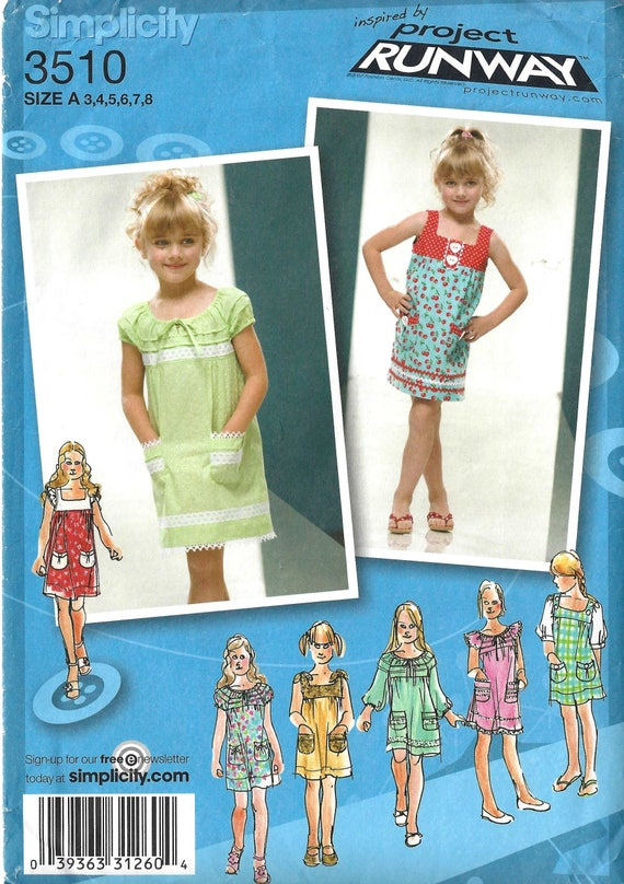 Simplicity 3510 Sewing Pattern Project Runway Childs Dress Etsy