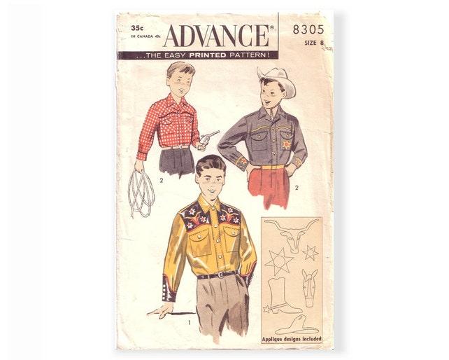 Vintage 50s advance sewing pattern 8305 boys sz 8 western etsy