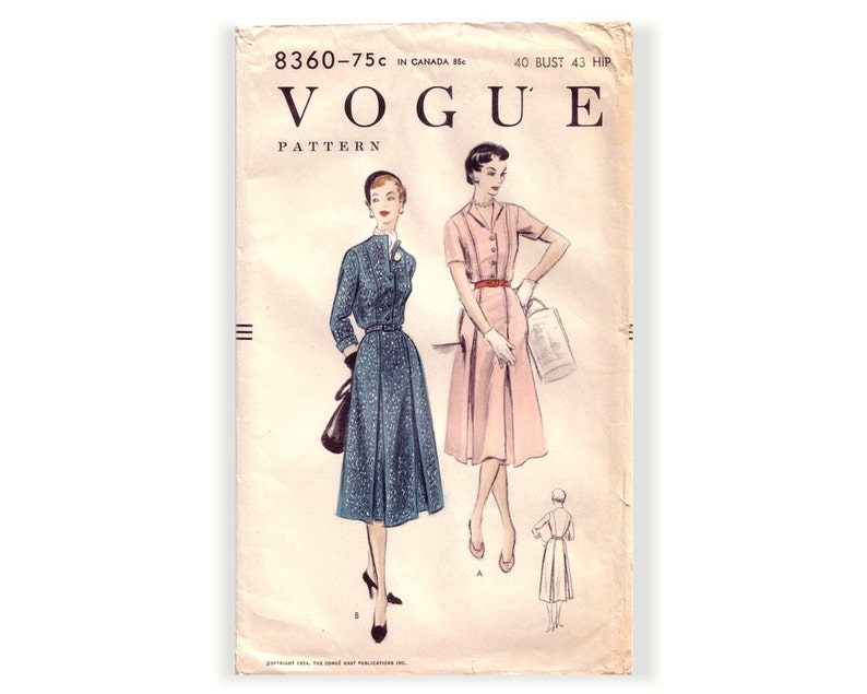 Vogue 8360 Sewing Pattern Misses Vintage 50s One Piece Dress Etsy