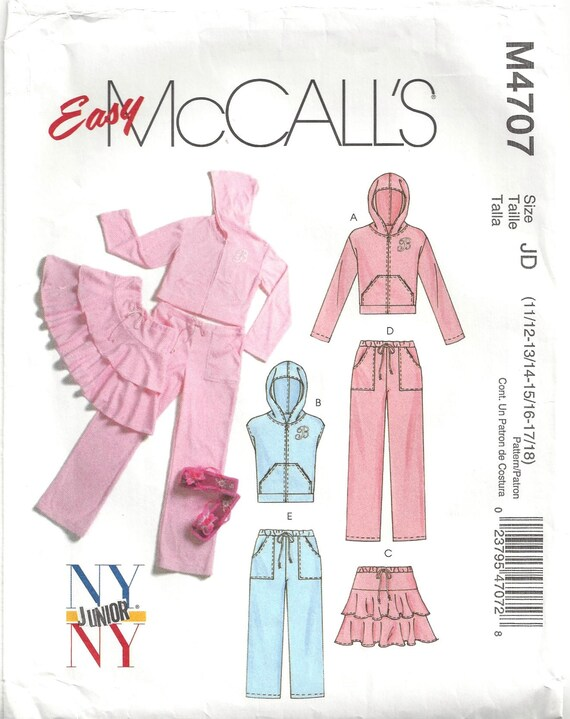 McCalls M4707 Sewing Pattern for Juniors Knit Jacket Vest | Etsy