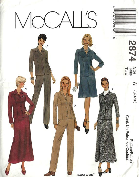 McCalls 2874 Sewing Pattern Misses Unlined Shirt Jacket Pants | Etsy