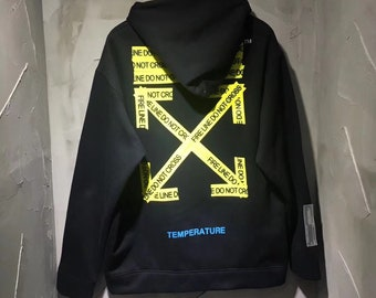 e71127998a0 Off-white style Fire Tape Hoodie Sweatshirt