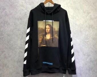 084e9a5089a8 Off-white style Moona Lisa Hoodie Sweatshirt in Black   White