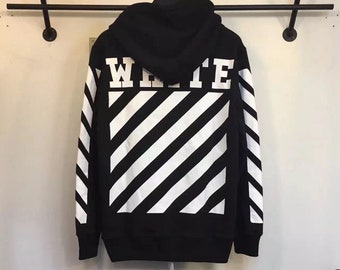 1cc40ee5c0c8d Off-white style Classic Strips Sweatshirt Hoodie in Black   White