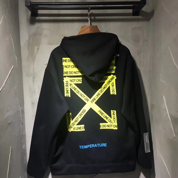 Off White Style Fire Tape Hoodie Sweatshirt by Etsy
