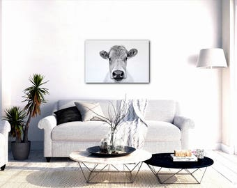 Cow Canvas Art Print, Cow Decor, Cow Drawing, Cow Art, Canvas Art,