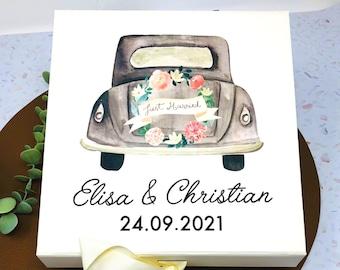Geschenkbox Brautauto - personalisiert - creme - Ohne Inhalt - Hochzeitsgeschenk für das Brautpaar- G2