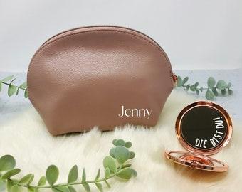 Kosmetikbeutel nude in Kunstleder mit rosegoldenem Zipper - Make-up Tasche - personalisiert mit Innentext - Geschenk Freundin Trauzeugin,
