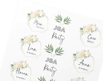 Tattoo Set für JGA - temporär - Hochzeit Floral -Din A4 Blatt mit 24 Tattoos - mit euren Namen personalisiert - Design Vanille
