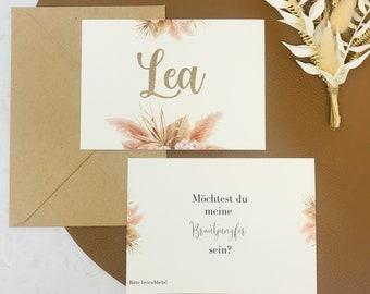Rubbelkarte Karte Willst du meine Brautjungfer sein, Brautjungfer fragen Kollektion PAMPAS
