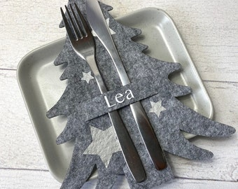 Tannenbaum Besteckhalter Set für Weihnachten aus Filz - personalisiert mit Namen - perfekt als Platzkarte - 3 Designs