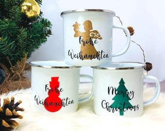 Emaille Tasse Weihnachten - personalisiert mit Namen - Schneemann Engel Tannenbaum