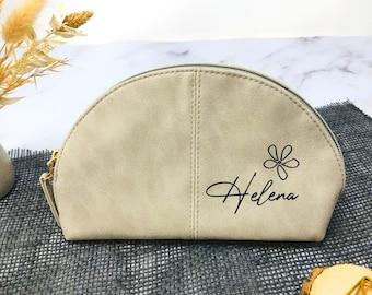 Kosmetiktasche - Beauty Bag - Schminktasche - personalisiert - grau - Kunstleder - Geschenk beste Freundin Trauzeugin Lehrerin