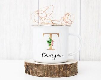 Emaille Tasse Weihnachten - personalisiert mit Initial und Namen - Design Greenery