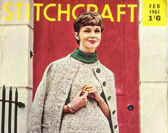 b3fe84012d2 Vintage Stitchcraft Magazine February 1961 Knitting Sewing Needlecraft