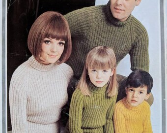 Original Hayfield Knitting Pattern Ribbed Jumpers for all the Family