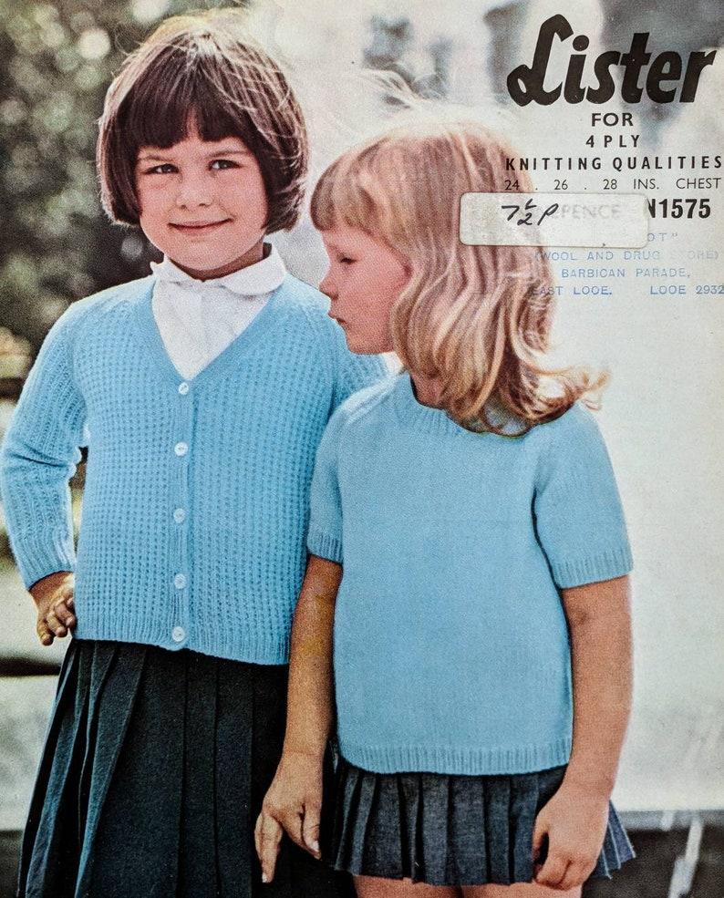 29ed581d0 Retro Lister Knitting Pattern Girls Jumper and Cardigan Twin