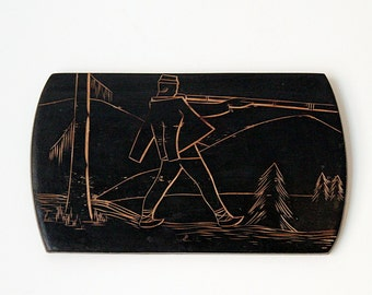 Vintage Handmade Wood Carving Wall Art. Mountains. Wood Souvenir. Woodworking
