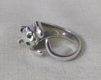 Sterling Silver Cat Ring with clear Crystal eyes and a Tail on the other end