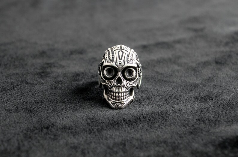 925 Sterling Silver Skull many skulls ring jewlery art A2