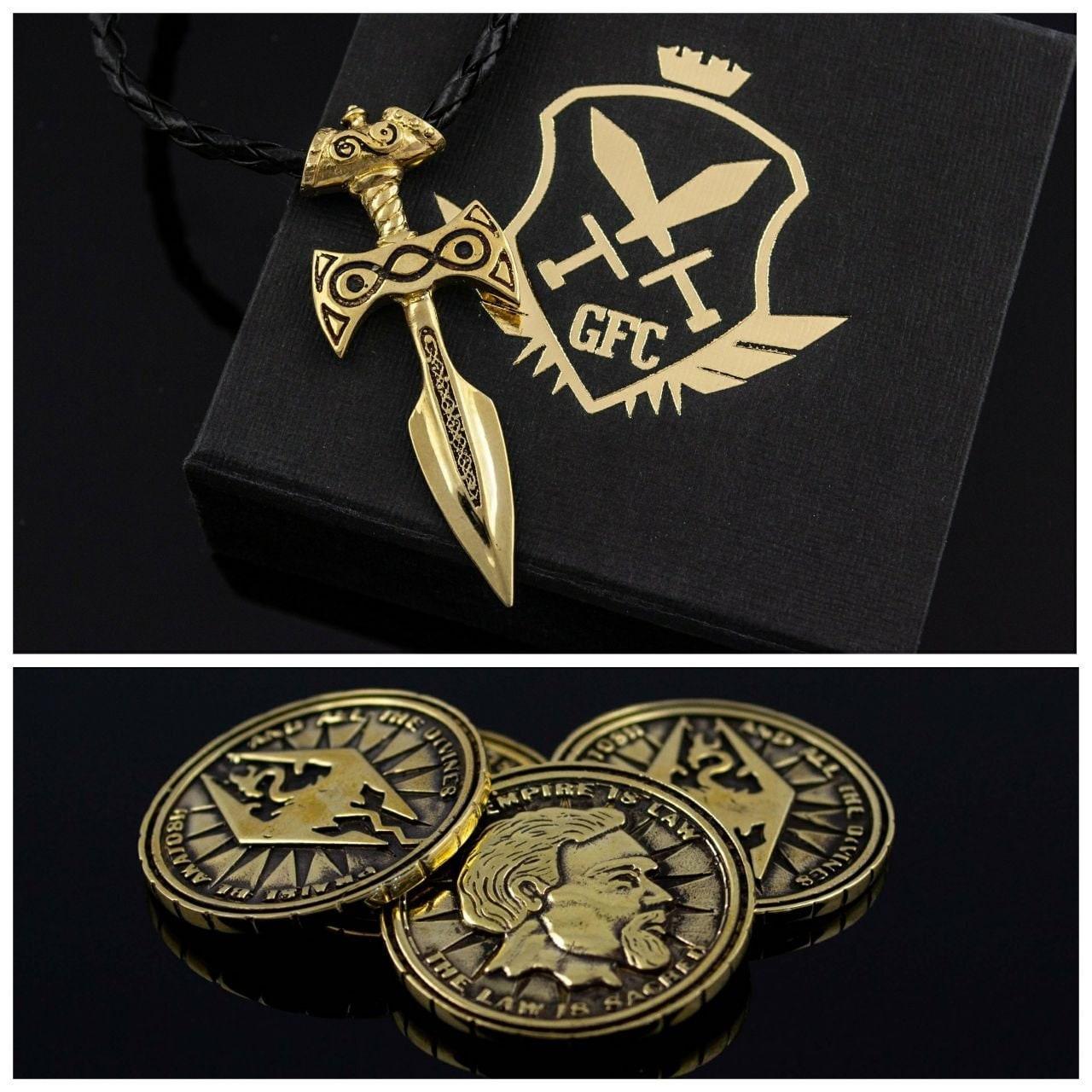 Amulet Of Talos gift set   amulet of talos pendant   septim coin   fantasy jewelry handmade  brass larp fantasy