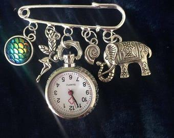 Dazzled And Charmed Elephant  Kilt Pin Fob Watches