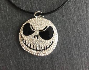 Jack Skeleton Rhinestone Head Necklace