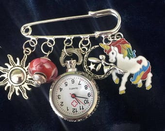 Dazzled And Charmed kIlt Pin Fob watch