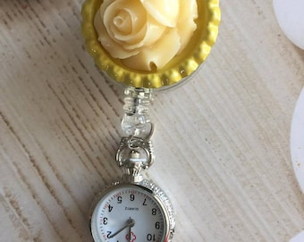Rose Retractable Nurses Fob Watch Jewelry & Watches