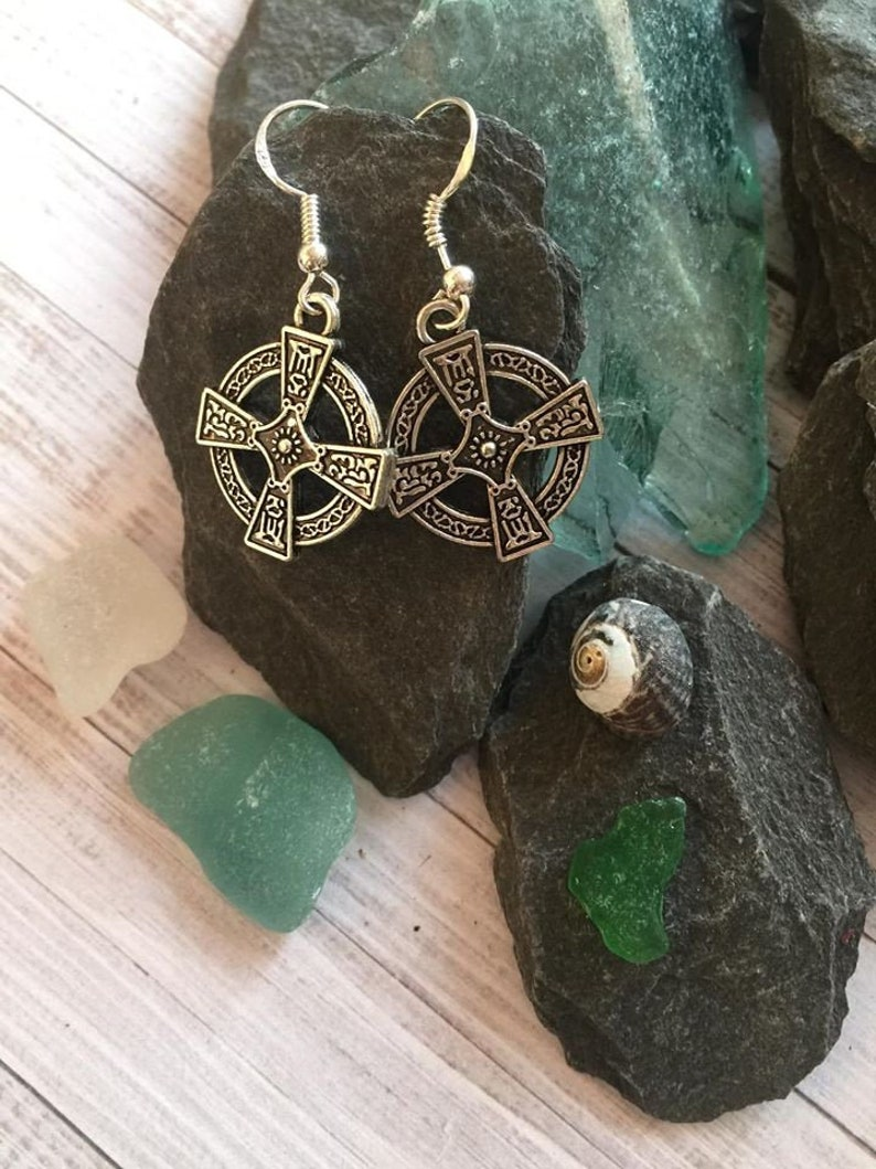 Celtic Lovers Cross Earrings