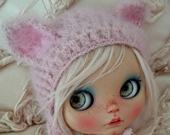 Blythe hat cat pink mohair blythe helmet knitted hat for Blythe doll blythe clothes blythe outfit beanie blythe custom handmade