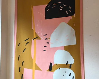 Groot abstract wandkleed van katoen. Naam: Growing Big, 90x150cm, textielposter, wanddecoratie, textiel, muurdecoratie, decoratie wonen