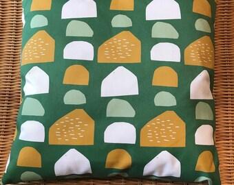 mooie kussenhoes groen met stenen, 40x40 cm, kussensloop met rits, wooninrichting, wonen, woondecoratie, kussentje, groen abstract kussentje