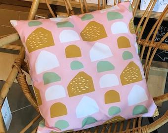 Kussenhoes roze stenen, kussenhoes 40x40 cm, hoes met rits, kussensloop, wooninrichting, kussens, roze kussenhoes, sierkussen, woondecoratie