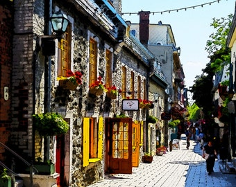 Quebec City Street Scene Looking Down the Streets of Petit-Champlain: A Digital Watercolor Fine Art Print