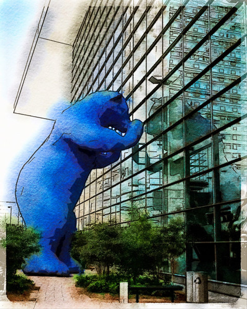 Denver S Blue Bear Photo Watercolor Art Print Of The Giant Blue Bear Peering In The Windows Of The Convention Center
