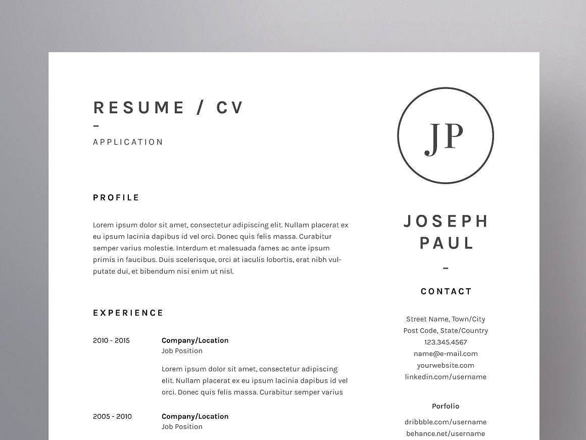 Resume Template One Page CV Template Cover Letter For MS