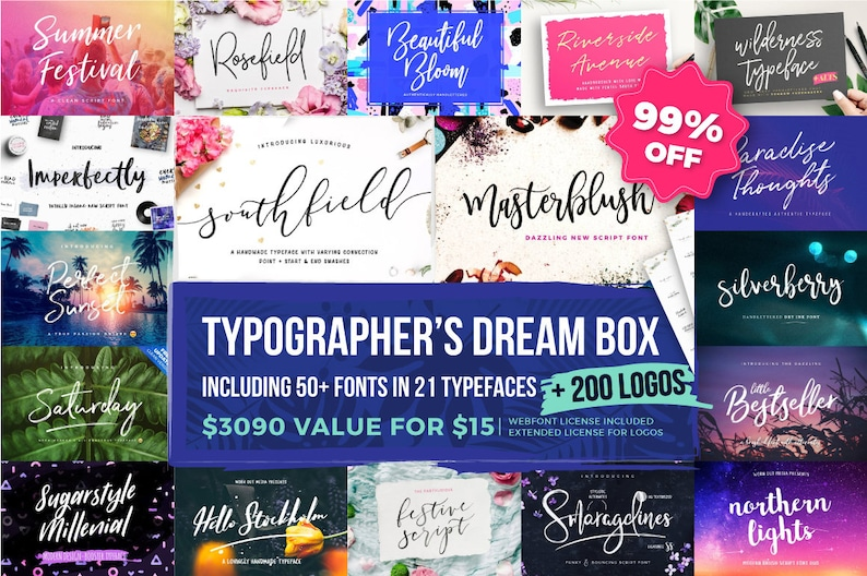 99% OFF Font Bundle  Typographer's Dream Box  200 Logos image 0