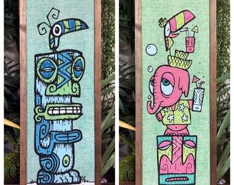Tiki TOny Pink Elephant & Marquesan Tiki collaboration. Mid century inspired gravel art wall panel decor by Kymm! Bang, Atomic Crush Design