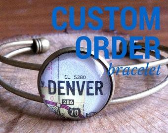 CUSTOM ORDER Vintage Map Cuff Bracelet in Antique Bronze