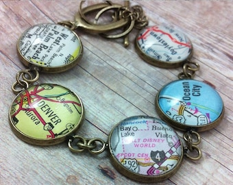 CUSTOM Map Bracelet: Personalized with 5 Vintage Map Locations of your Choice [ Gift for Her, Bridal Gift, Travel Gift, World Map Jewelry ]